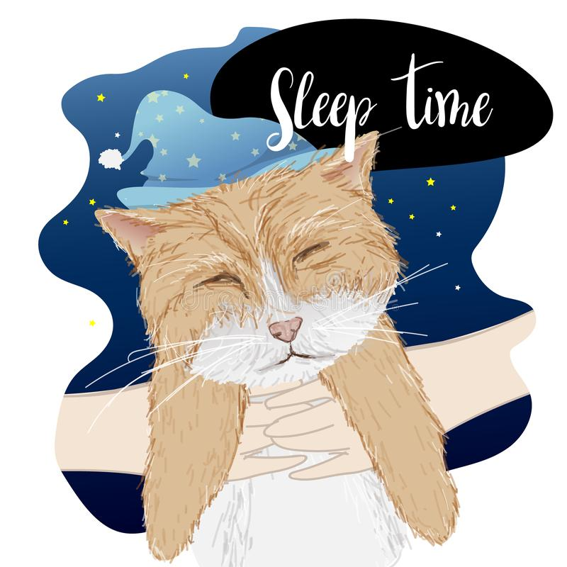Freehand style cartoon. Hand holding lazy cat with cute sleeping hat. Good night. Sweet dreams stock illustration