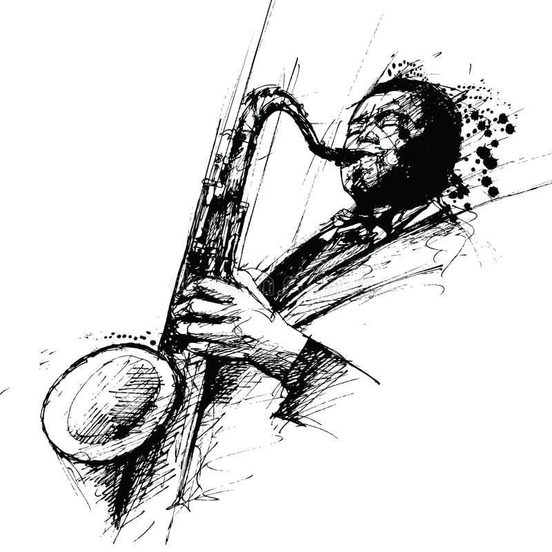 Freehanding drawing of a jazz saxophonist royalty free illustration