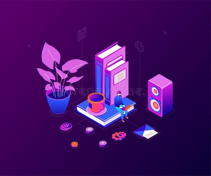 Freelance arbeider - moderne kleurrijke isometrische vectorillustratie vector illustratie