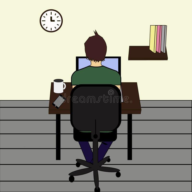 Freelance baanillustratie mens die aan Internet werken gebruikend laptop en drinkend koffie Het werk thuis reis en het werk royalty-vrije illustratie
