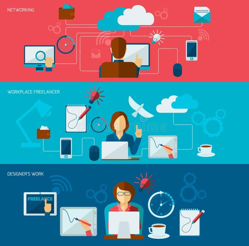 Freelance Banner Set. With networking freelancer workplace designer work isolated vector illustration stock illustration