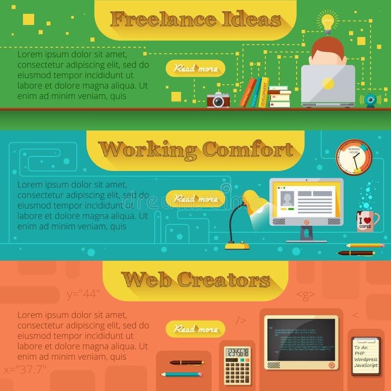Freelance Bannerreeks vector illustratie