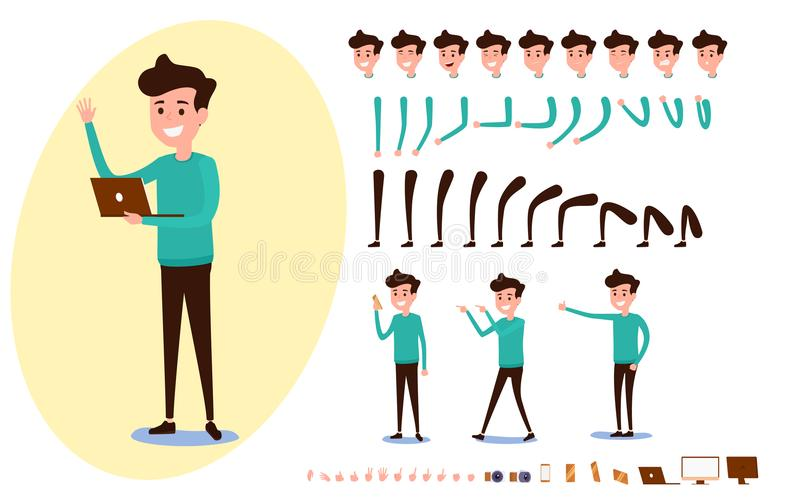 Freelance character creation set for animation. Set of guy in casual clothes in various poses. Parts body template. Different emotions, poses and running vector illustration