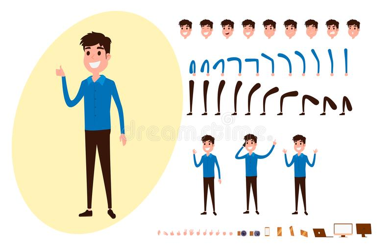 Freelance character creation set for animation. Set of guy in casual clothes in various poses. Parts body template. Different emotions, poses and running stock illustration