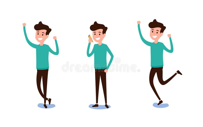 Freelance character Design. Set of guy in casual clothes in various poses happy emotional. Different emotions and poses. Cartoon Vector Illustration royalty free illustration