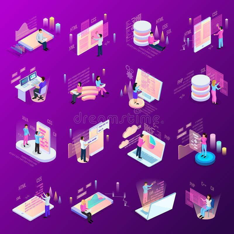 Freelance Coding Icon Set. Freelance programming isometric icons set of isolated human characters and modern interfaces with infographic icons vector stock illustration