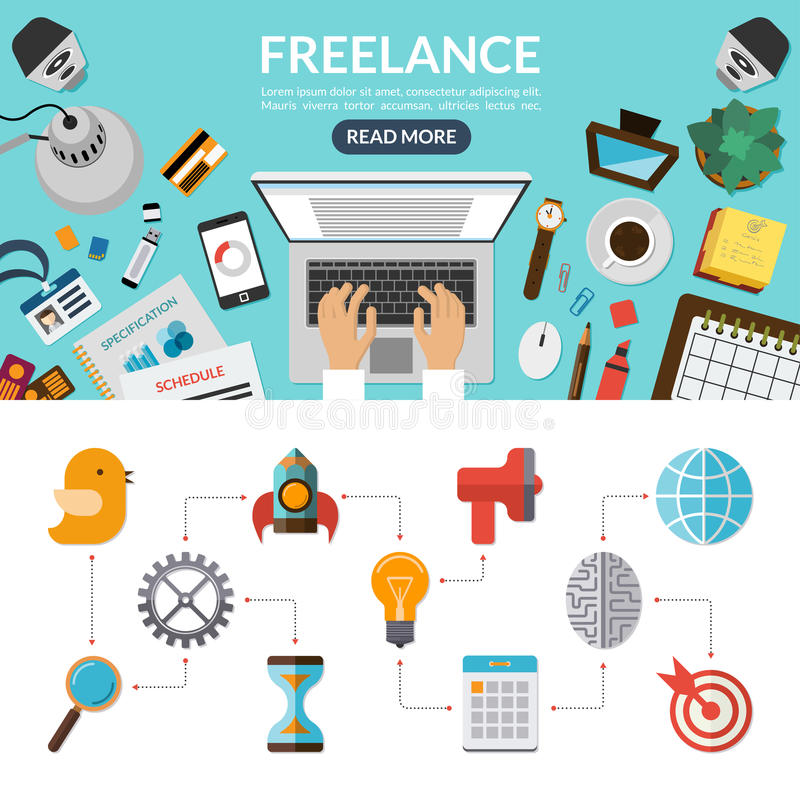 Freelance concept background banner in flat style. With set of business marketing icons. Top view on desktop. Vector illustration vector illustration