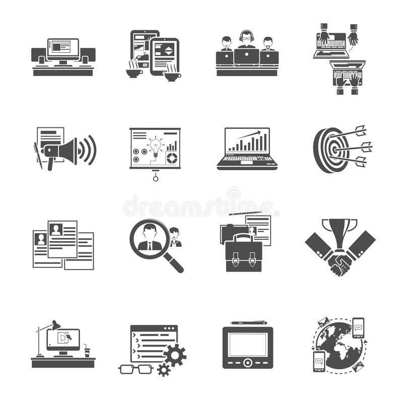 Freelance concept black icons collection. Freelance concept creative jobs online via staff recruiting agency black icons set collection abstract vector royalty free illustration