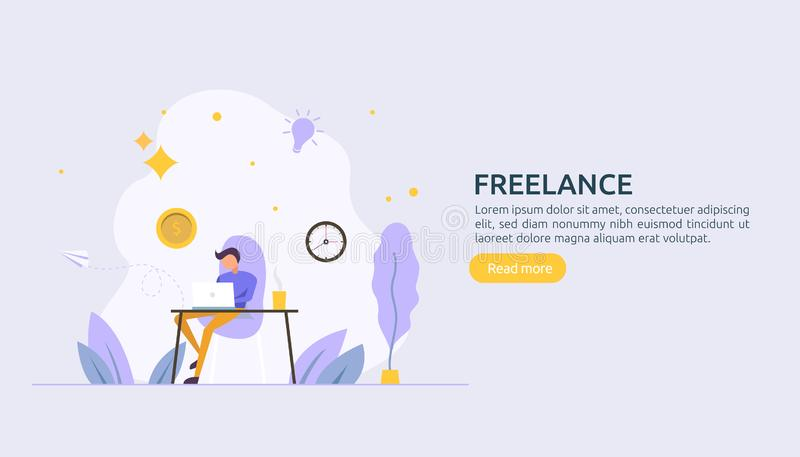 Freelance concept. freelancer teleworking or work at home. people character working with laptop. flat template for web landing royalty free illustration
