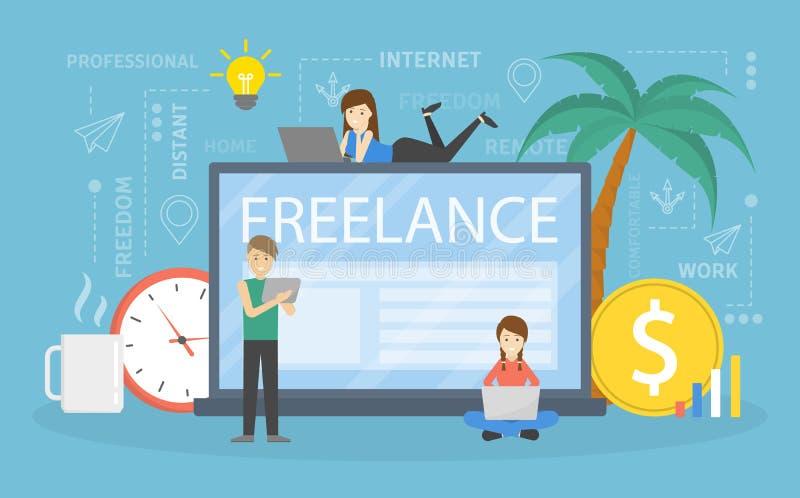 Freelance concept illustration royalty free illustration