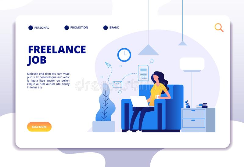 Freelance concept Meisje freelancer op bank die met computerhuis werken Landingspagina vectorontwerp stock illustratie
