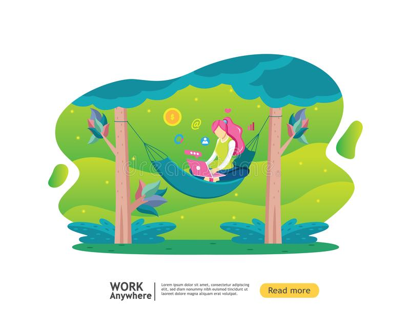 Freelance concept. vacation but get income. girl character working with laptop. flat template web landing page, banner, royalty free illustration