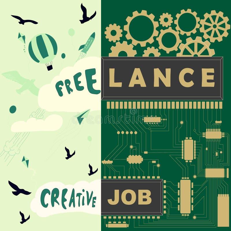 Freelance creatieve baanillustratie stock illustratie