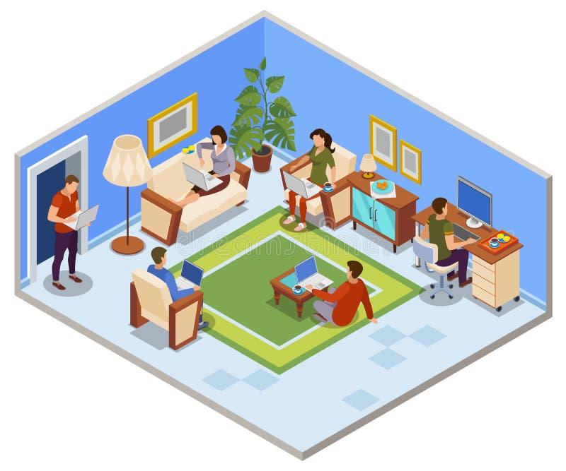 Freelance Day Isometric Composition royalty free illustration