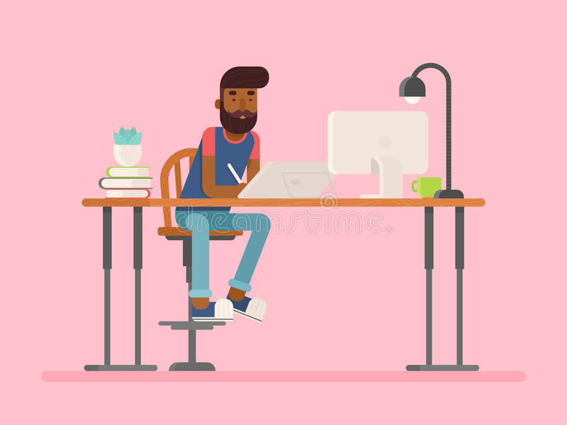 Freelance designer, CG artist character in flat style. Sitting and drawing, working. Detailed workspace with desktop, digital tablet, computer, plant and lamp royalty free illustration