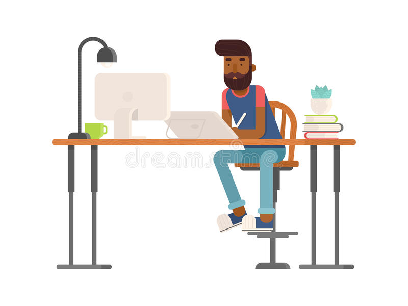 Freelance designer, CG artist character in flat style. Sitting and drawing, working. Detailed workspace with desktop, digital tablet, computer, plant and lamp stock illustration