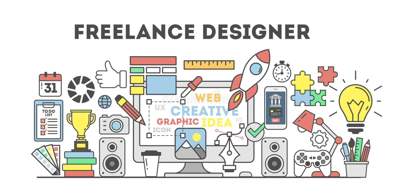 Freelance designer illustration. Concept of studying, working at home stock illustration