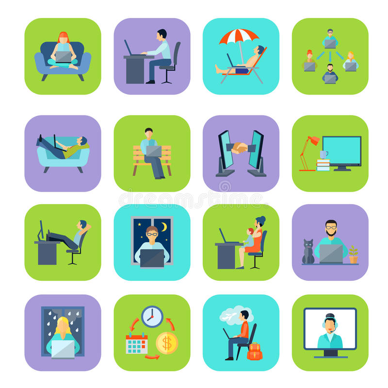 Freelance Flat Color Icon Set. Freelance remote work at home or anywhere and anytime flat color icon set vector illustration royalty free illustration