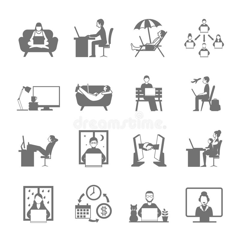 Freelance Flat Icon Set. Freelance online and remote work in garden beach and night flat silhouette icon set isolated vector illustration stock illustration
