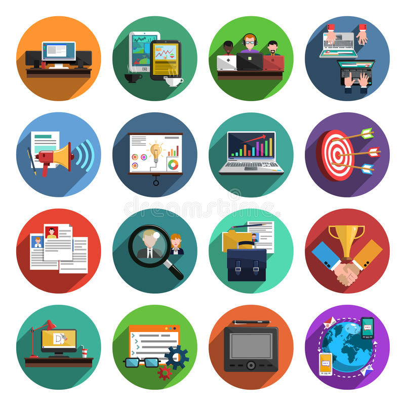 Freelance flat round icons collection. Freelance recruitment agency for temporary independent creative professional work flat icons set round abstract vector royalty free illustration