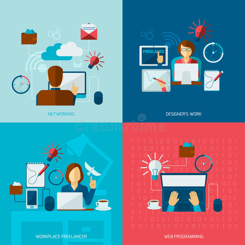 Freelance Flat Set. With networking designer work web programming workplace isolated vector illustration royalty free illustration