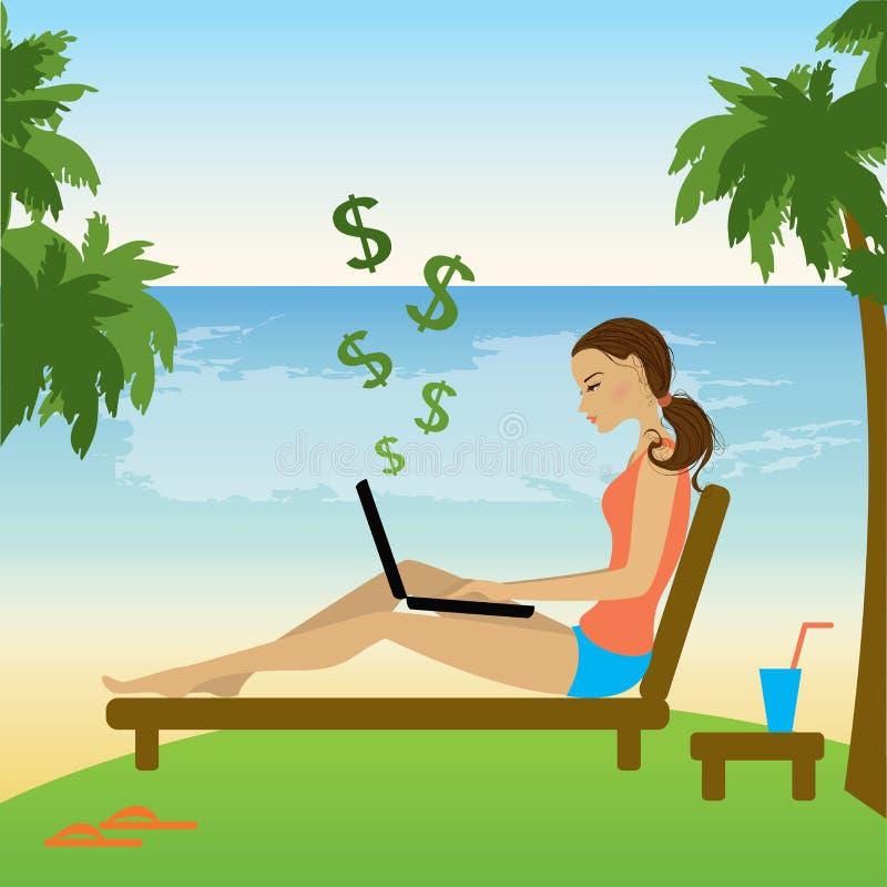 Freelance girl work on beach. Vector flat illustration stock illustration