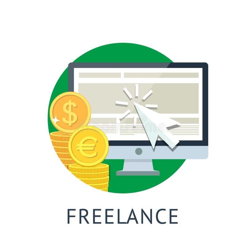 Freelance icon. Concept icon of freelance work on green circle. Internet payment flat illiustration. Isolated on white background royalty free illustration