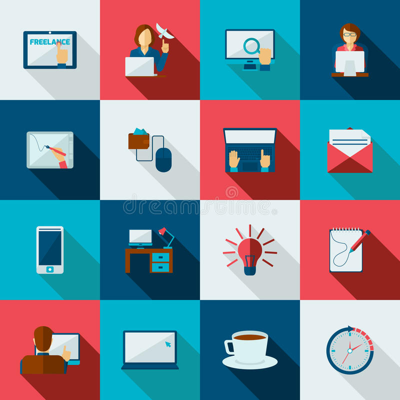 Freelance Icon Flat. Set with designer working at laptop time is money symbols isolated vector illustration vector illustration