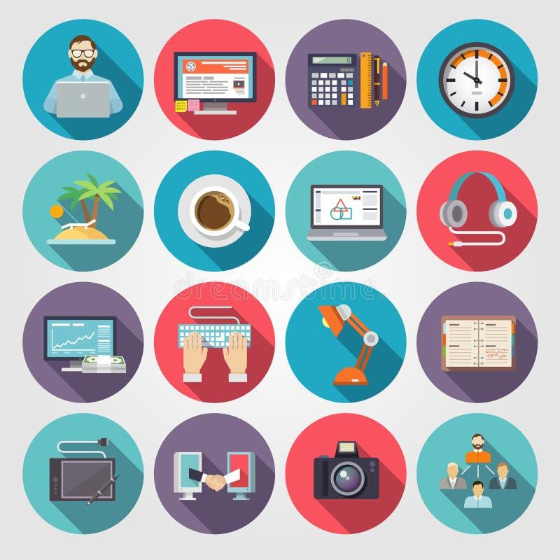 Freelance Icon Flat. Set with freelancer workflow business symbols isolated vector illustration stock illustration