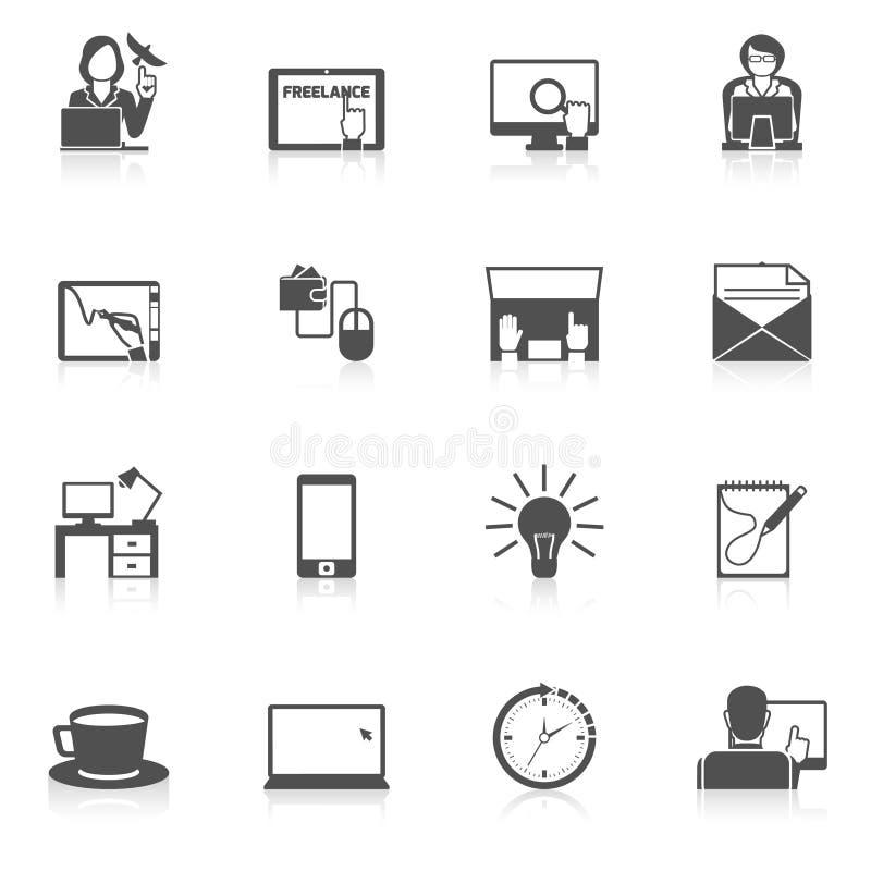 Freelance ikony czerni set ilustracja wektor
