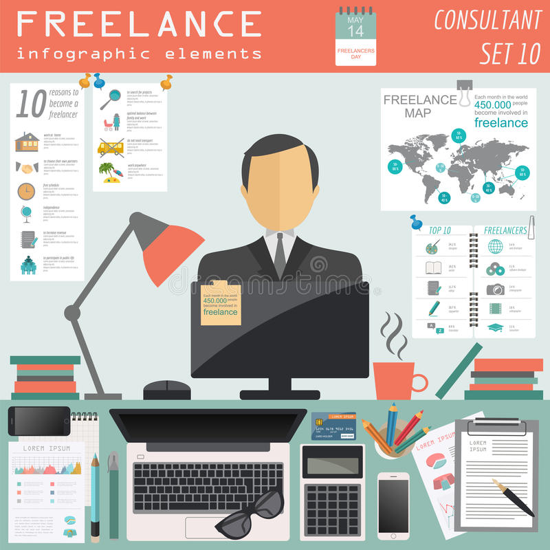 Freelance infographic template. Set elements. For creating you own infographic. Vector illustration stock illustration