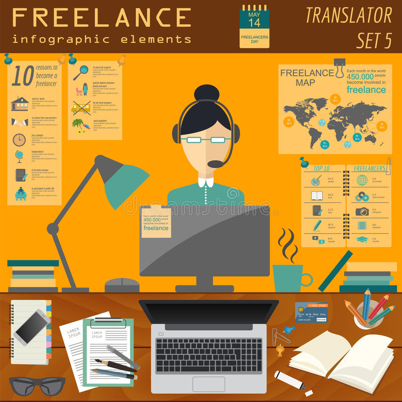 Freelance infographic template. Set elements. For creating you own infographic. Vector illustration vector illustration