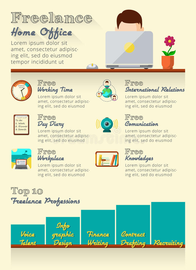 Freelance infographics set. With home office statistic elements vector illustration stock illustration