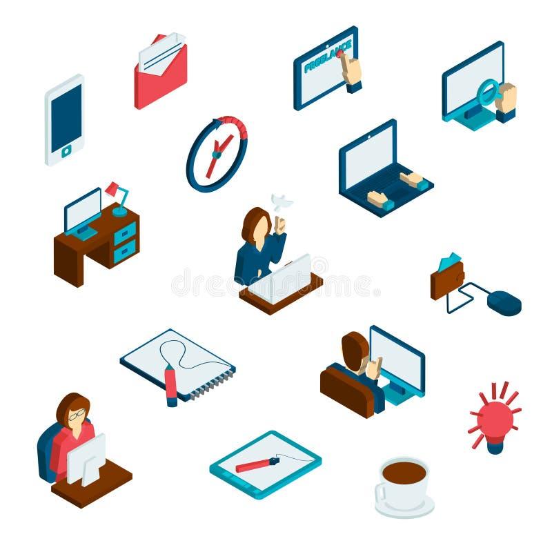 Freelance Isometric Icons Set stock illustration