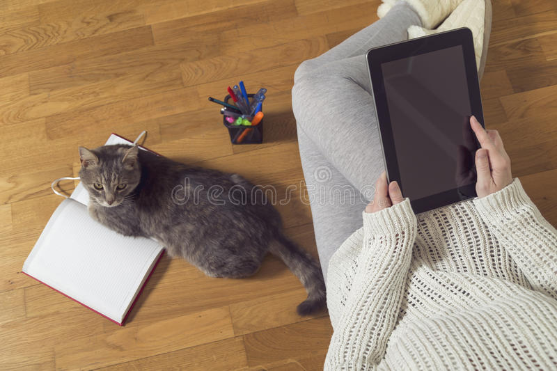 Freelance job. Top view of a woman sitting on the floor, holding a tablet computer and working at home with planner and a cat assistant. Selective focus stock photo