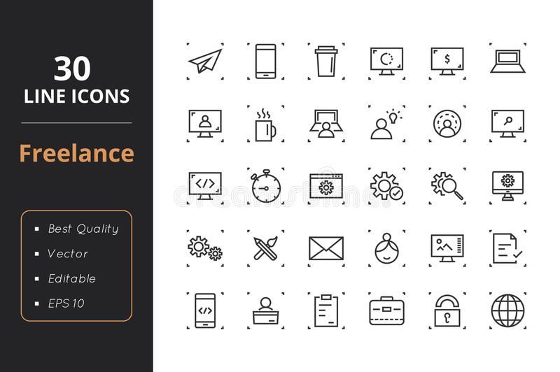 30 Freelance Line Icons. High quality freelance line icons. Icons for user interfaces and web vector illustration