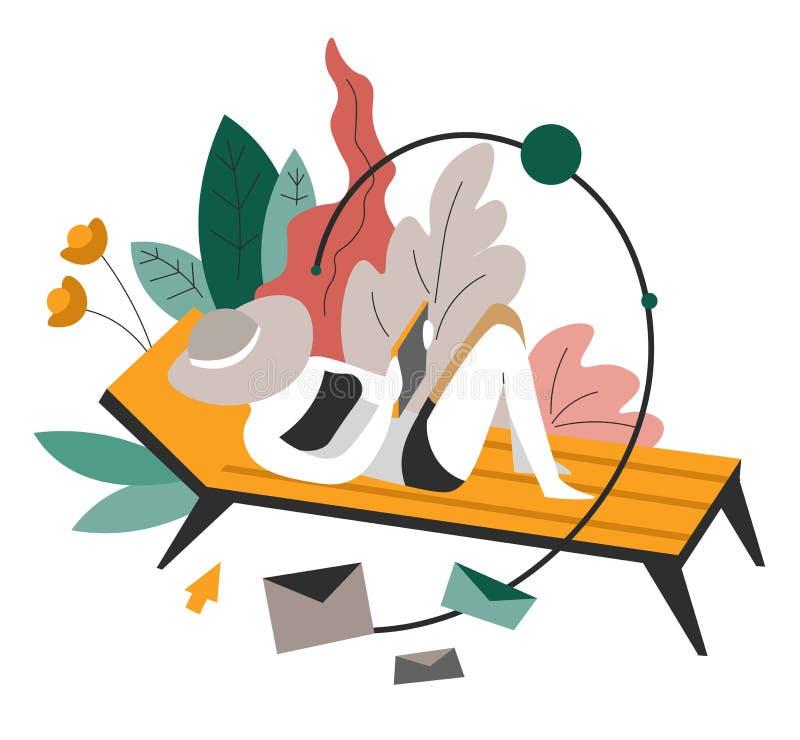 Freelance lub odległa pracy kobieta na recliner odizolowywał abstrakcjonistyczną ikonę ilustracji