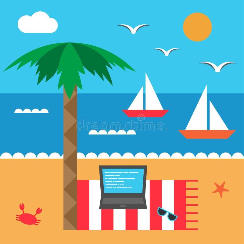 Freelance morzem Seashore i plaża Set elementy w mieszkanie stylu ilustracji