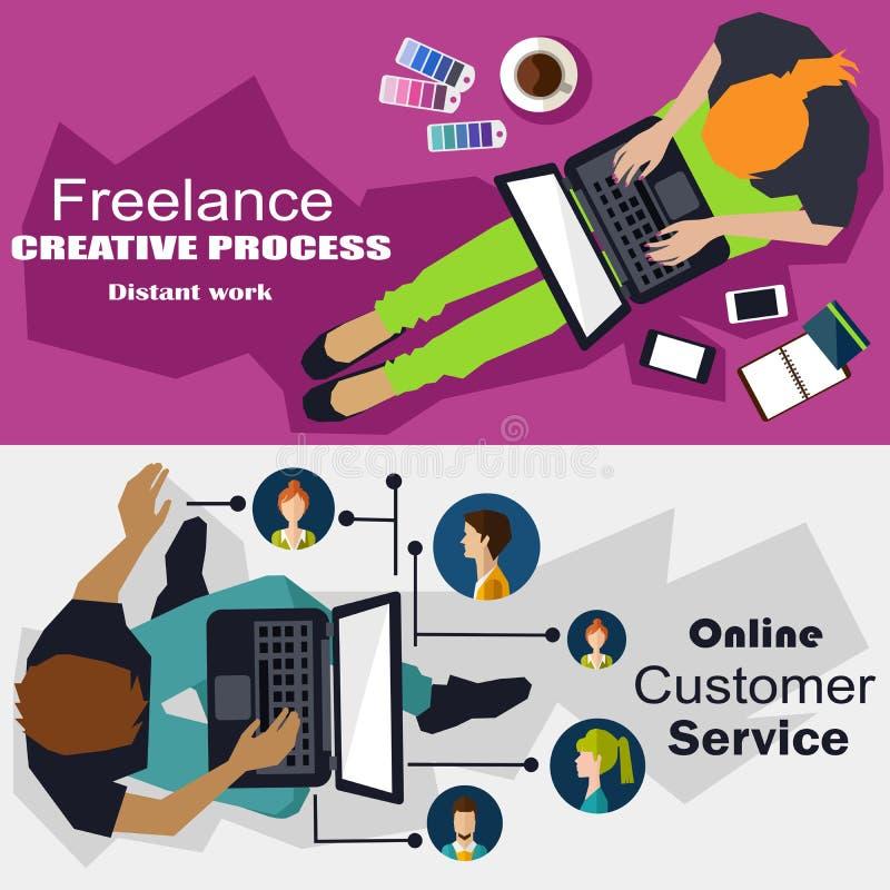 Freelance, online de dienstconcept vector illustratie