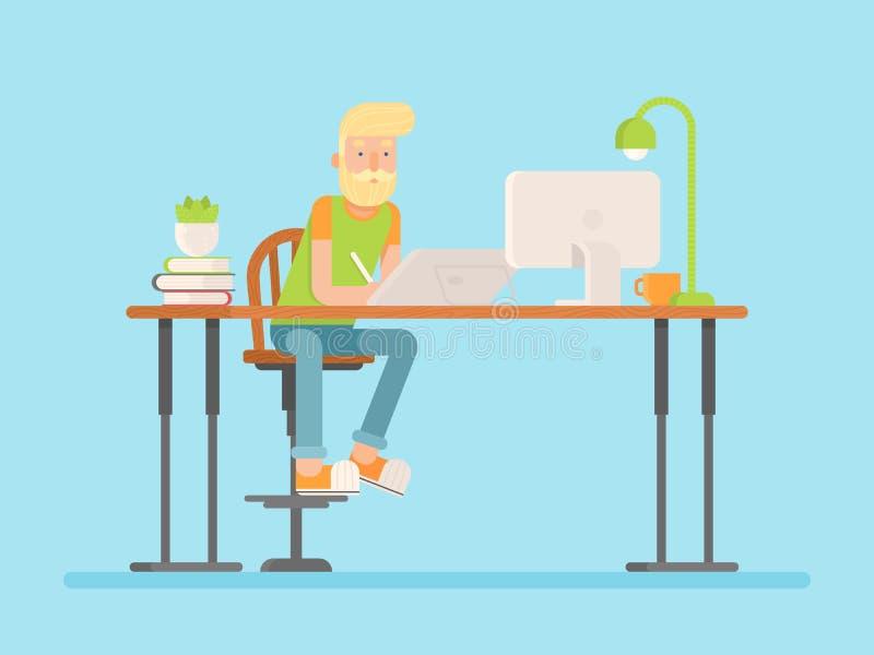 Freelance ontwerper, CG-kunstenaarskarakter in vlakke stijl vector illustratie