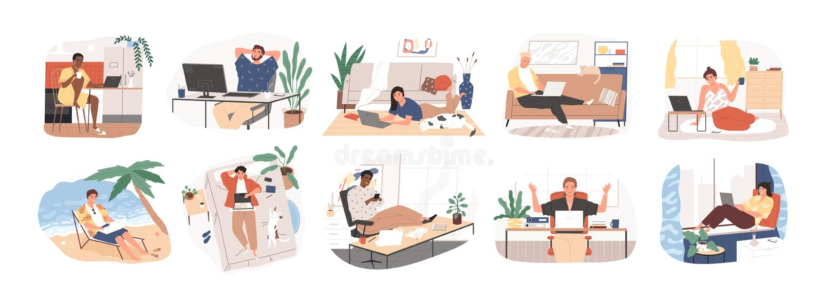 Freelance people work in comfortable conditions set vector flat illustration. Freelancer character working from home or. Beach at relaxed pace, convenient stock illustration