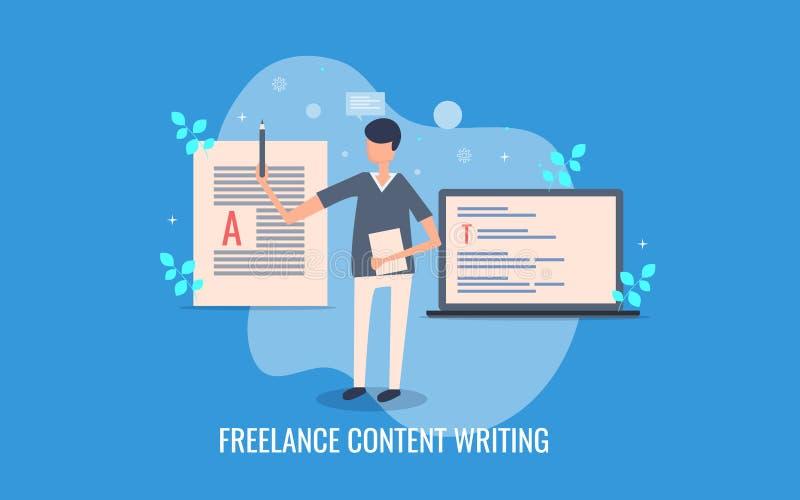 Freelance persoonlijke het schrijven inhoud voor online merken, inhoudsverwezenlijking die, verhaal, het brandmerken concept schr vector illustratie