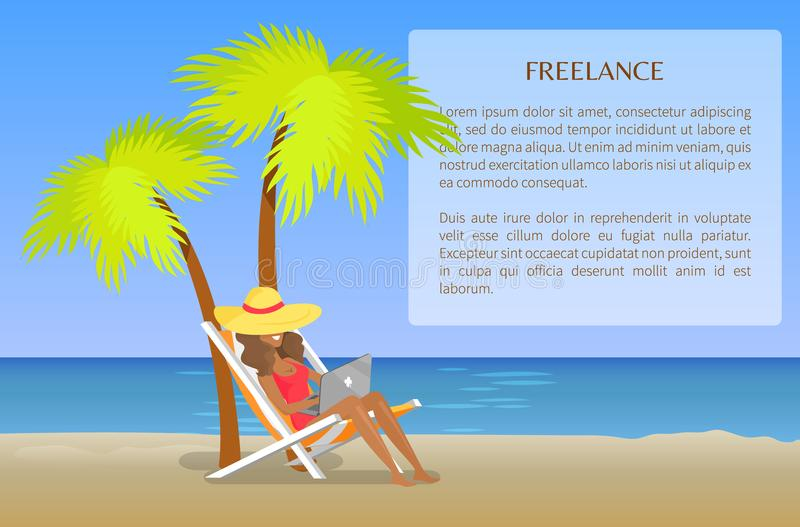 Freelance Poster with Cheerful Woman Distant Work. Freelance poster with cheerful working woman, distant freelance job, vector illustration, amazing summer beach royalty free illustration