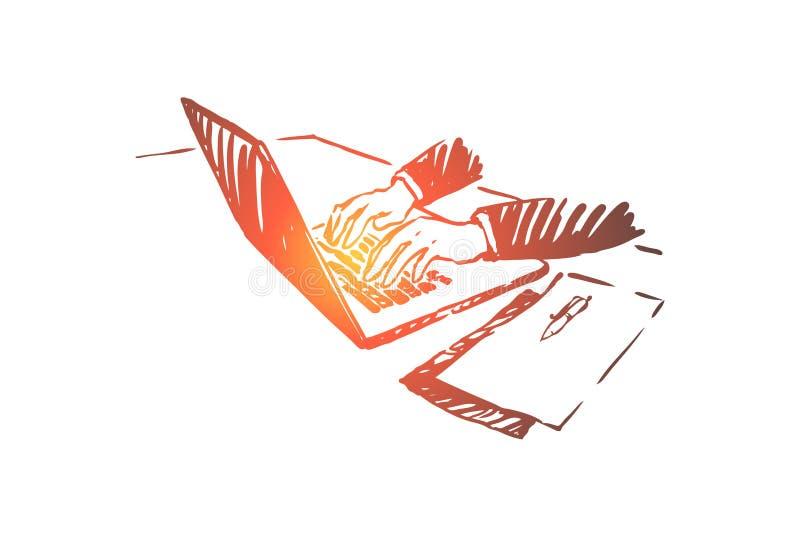 Freelance, praca od domu, biznesmen pracuje z laptopem, biznesowy webinar, programisty zaj?cie ilustracji