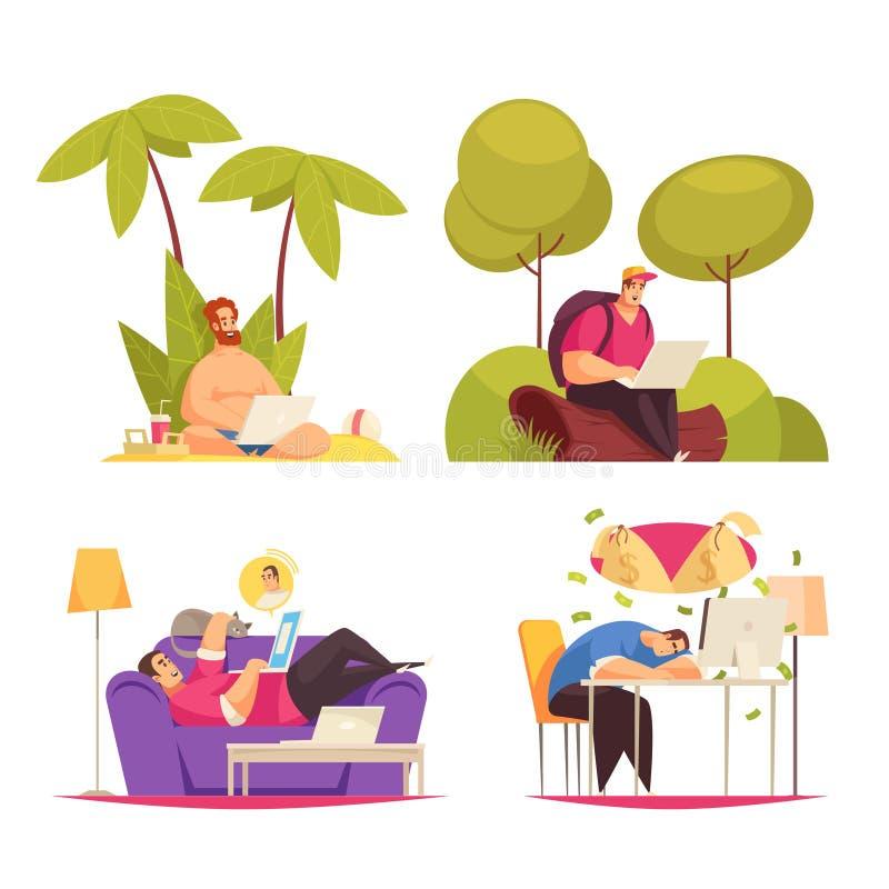 Freelance pracy kreskówki pojęcie royalty ilustracja