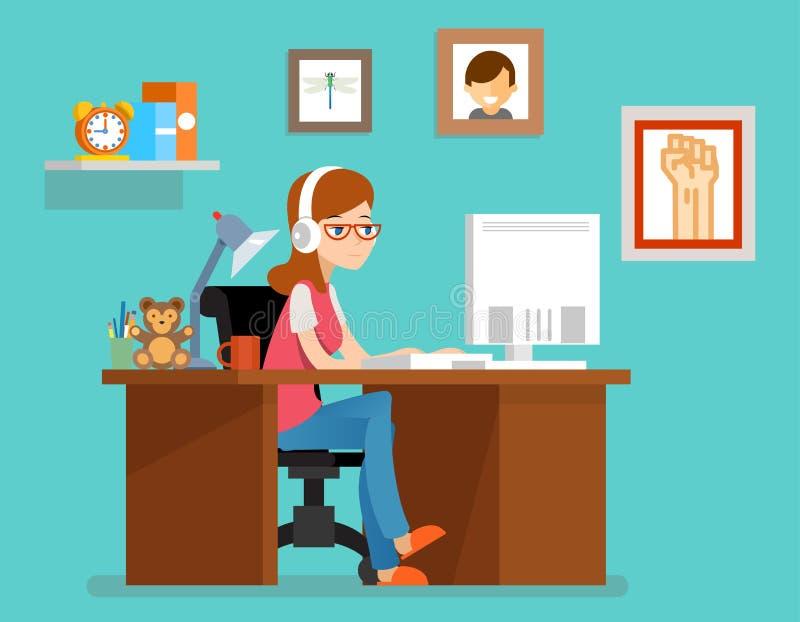 Freelance vrouw die thuis met computer werken Vectorillustratie in vlakke stijl stock illustratie