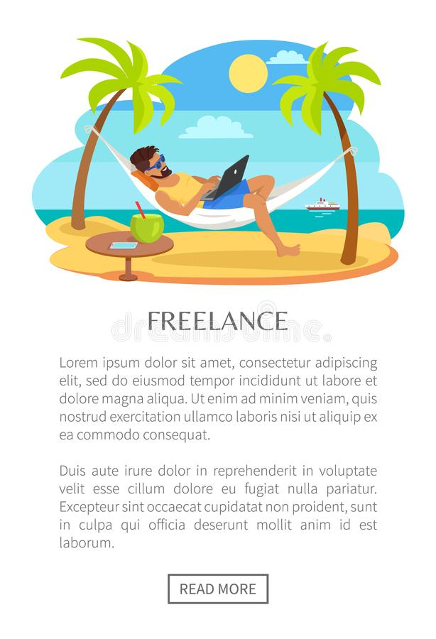 Freelance Web Poster with Text Man Lying Hammock. Freelance web poster with text, man lying on hammock with notebook, table with tropical cocktail, freelancer vector illustration
