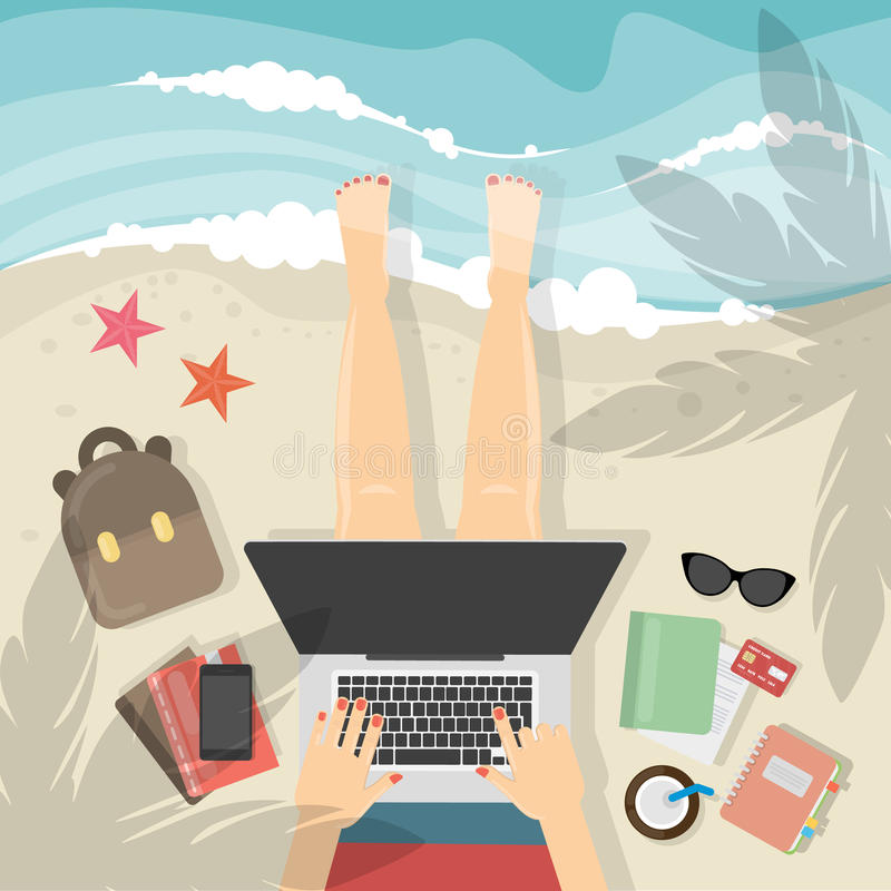 Freelance work concept. Working on the beach with laptop royalty free illustration