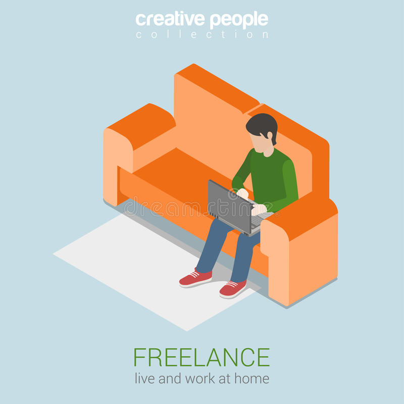 Freelance Work At Home Flat 3d Web Isometric Concept Stock ...