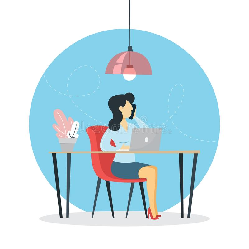 Freelance worker sitting at the computer and working vector illustration